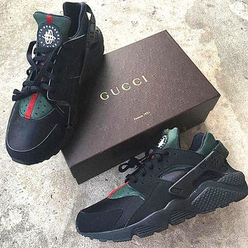 Nike Gucci Drops the Air Huarache Ultra Sports shoes Black green 93764dbf4