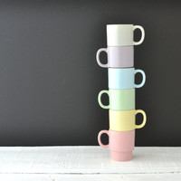 Vintage Stacking Mugs - Pastel Coffee Cups - Made in Japan - Stackable Cups - Set of 6