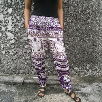 Slim Cut Purple Elephant Print Pants Trousers Yoga Harem Pants Hippie Boho Chic Fashion Clothing Tribal Cloth For Beach Summer Casual Unique
