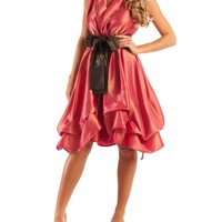 Jolaby - V-Neck Coral Ruched Dress Long - Coral | Accent Clothing
