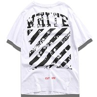 OFF-WHITE Tide brand couple loose half-sleeved T-shirt White