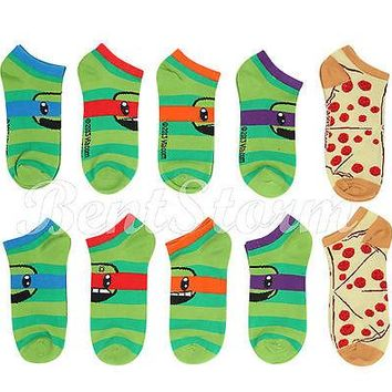 Licensed cool TEENAGE MUTANT NINJA TURTLES Classic No-Show Socks 5 Pair Low Cut Stripes Pizza