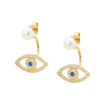Two Piece Evil Eye and Pearl Earrings in Gold Plated Sterling Silver by Fronay