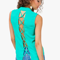 Lace Up Back Back Button Front Sleeveless Shirt