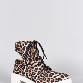 Qupid Leopard Round Toe Lace Up Cutout Booties