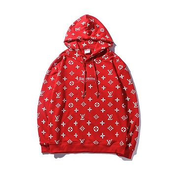 LV Louis Vuitton & Supreme co-branded men and women couple fashion hooded sweater F-CP-ZDL-YXC red