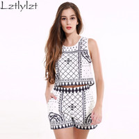 lztlylzt 2 Piece Set Women Vintage Print Fashion Crop Top And Shorts Set 2016 Summer Women Two Piece Set Clothing Plus Size