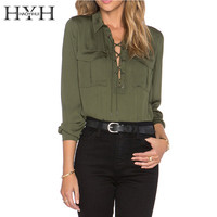 HYH HAOYIHUI 2016 Brand New Summer Fashion Women Lace Up Front Shirts Long Sleeves Office Tops Army Green Shirts
