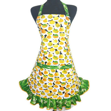 Deviled Eggs and Green Onions , Ruffled Kitchen Apron for Women , Retro kitchen decor