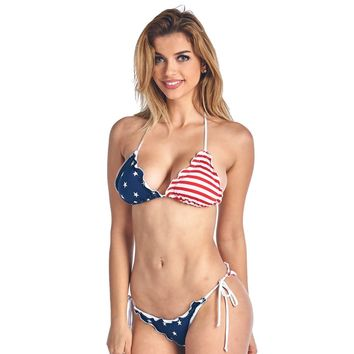 Women's Juniors Ruffle USA Flag Bikini Set Swimwear
