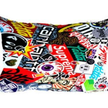 "Best Supreme Sticker Bomb Zippered Pillow Case 16""x 24"" - 2 sides Cushion Cover"