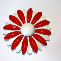 Vintage Enamel Brooch Red White 1950s Jewelry Mod