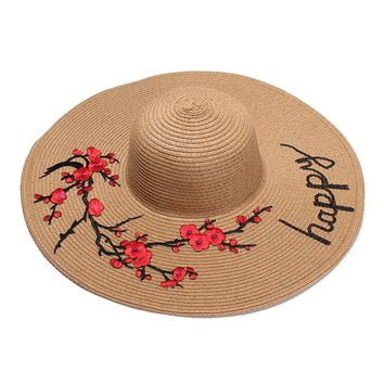 Happy Embroidery Beach Floppy Hat