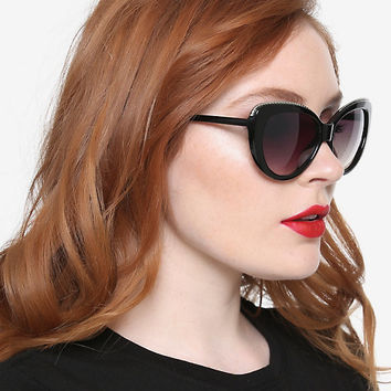 Metal Detail Black Cat Eye Sunglasses