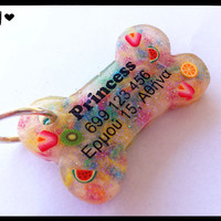 Fruit & Candy Bone Dog Tag - Personalized - Custom - Cute - Sweet Kawaii Dog ID Pet Tag - Resin - Glitter - Dog Collar Accessory Accessories