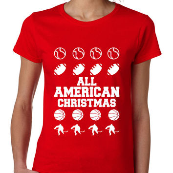 Women's T Shirt All American Christmas Love Sport Fans Gift