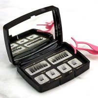 6pcs/pair magnetic eyelashes with 2 magnets handmade natural false eyelashes with gift box mirror and tweezer