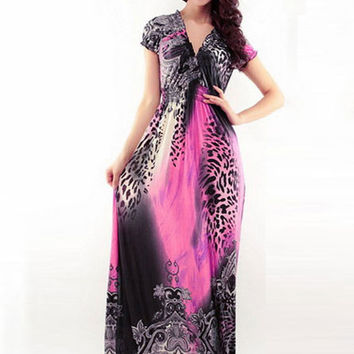 Animal Print V-Neck Short Sleeve High Waist Maxi Dress