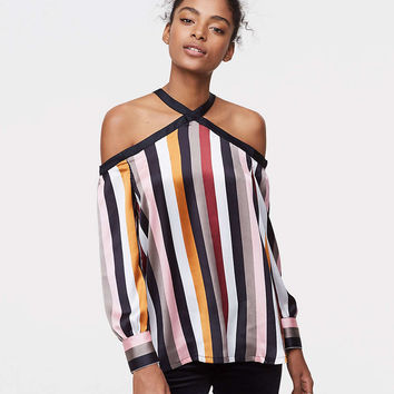 Striped Off The Shoulder Halter Blouse | LOFT