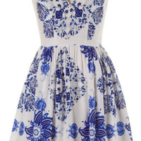 White Stylized Floral Print Fit N Flare Sundress