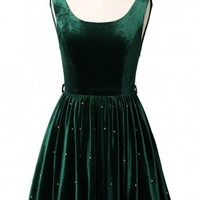 Green Backless Pearly Velvet Dress - New Arrivals - Retro, Indie and Unique Fashion