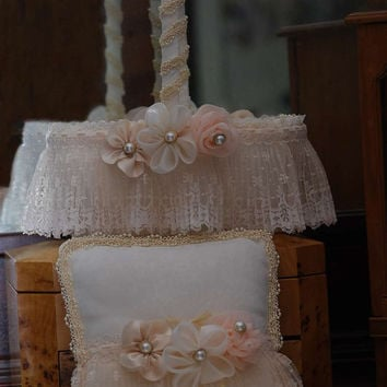 Flower Girl Basket - Bridal Basket and Pillow - Ivory, cream and Blush, Pearls, Lace and Handmade flowers - Vintage Design