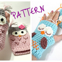 Crochet Pattern, Gloves Pattern, Owl Gloves Pattern, Tutorial, Crochet Tutorial, Owl Gloves