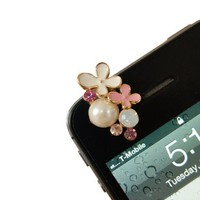 New Style Flower Pearl with Rhinestone Earphone Jack/Dust Plug/Ear Cap for iPhone 4/4s
