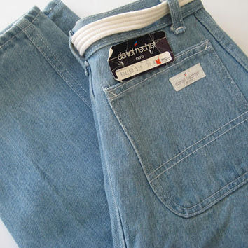 "High Waist Daniel Hechter Women's Mom Jeans 1980's Dead Stock 4 Pocket Light Wash Tapered Leg White Belt SMALL Waist 26"" Tagged NEW"