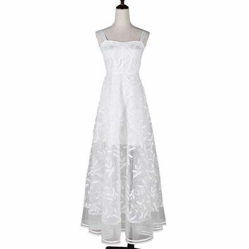 White Floral Embroidery Long Dress Women ed Strapless Slim Waist Slip Maxi Dresses Vestidos