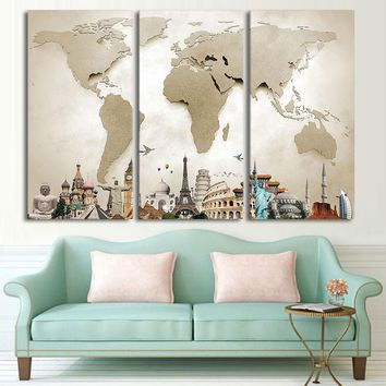Canvas Wall Art Pictures Home Decor Living Room 3 Pieces Vintage World Map Landscape Painting HD Print Building Poster Framework