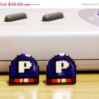 ON SALE: Super Nintendo earrings - P Switch - Video game jewelry - 16 bit pixel