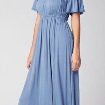 Into You Teal Blue Ruffle Off The Shoulder Maxi Dress