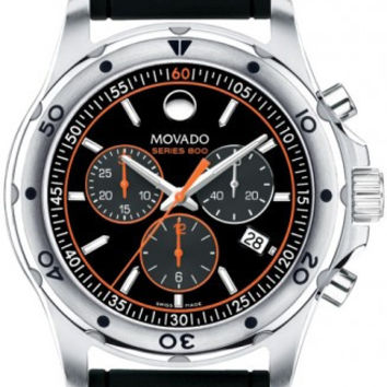 Movado Series 800 Men's Stainless Steel Case Black Rubber Band Black Dial Orange Accents Chronograph 42mm Watch 2600100