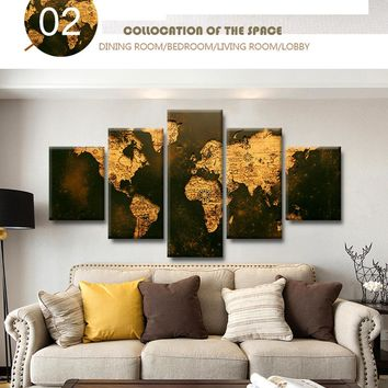 Rustic Old World Map Canvas Framed