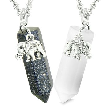 Lucky Elephant Love Couples or Best Friends Crystal Points Goldstone White Simulated Cats Eye Necklaces