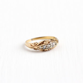 Antique 18k Rosy Yellow Gold Diamond Wedding Band Ring - Vintage Early 1900s Art Nouveau Size 3 1/4 Engagement Bridal Swirled Fine Jewelry