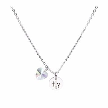 Dainty Inspirational Necklace made with Crystals from Swarovski  - FLY