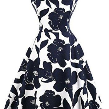 Scoop Neck Sleeveless 1950s Retro Vintage Style Hollywood Party Large Swing Midi Dress