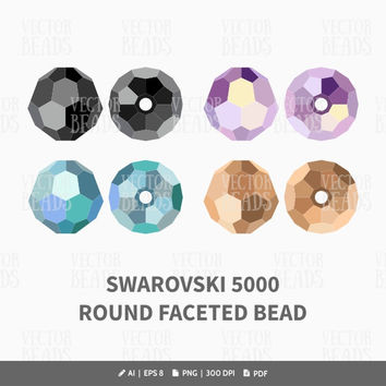 Swarovski 5000 Round Faceted Bead Vector Illustration - Swarovski Elements Vector Graphics