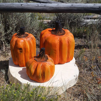 Wooden Carved Pumpkins - set of three chainsaw carved wood pumpkins, fall decor, fall wedding, rustic decor, rustic wedding