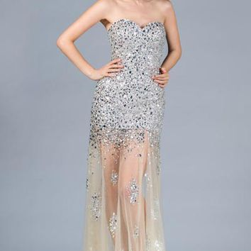 PRIMA C134389 Black or Nude Jeweled Sheer Bottom Prom Dress