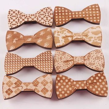 Creative Design Novelty Wooden Bowknot Bow Tie for Men Male Wedding Party Decoration Chinese Craving Wood Neck Bow Tie S5003