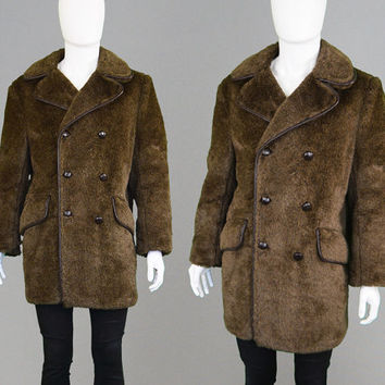 Vintage 60s 70s Mod Mens Faux Fur Coat Brown Fake Fur Dandy Winter Large L Jacket Car Coat Hunting Jacket 1970s Fashion British Home Stores