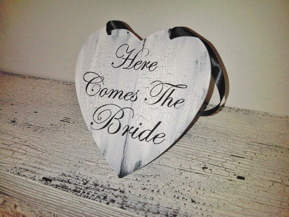Here Comes the Bride Wedding Sign - READY TO SHIP - shabby cottage chic vintage style, black white
