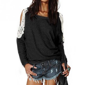 2016 Casual Lace Crochet Splice Off Shoulder Long Sleeve Shirts Tops Spring Autumn Blouse Hoodies Sweatshirts S-XL