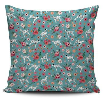 Dalmatian Flower Pillow Cover