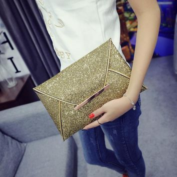 Women Bags luxury brand Evening Party Bag Gold Sequins Envelope Bag Purse Clutch Handbags Shiny Solid Ultrathin