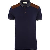 Navy Polo Shirt W/ Brown Suede Shoulder Patches