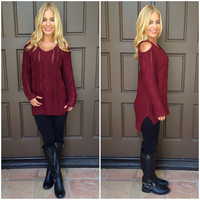Vega Open Shoulder Cable Knit Sweater - BURGUNDY
